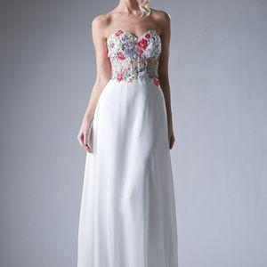 Floral Cute Long Off-White Long Dress CDHW12